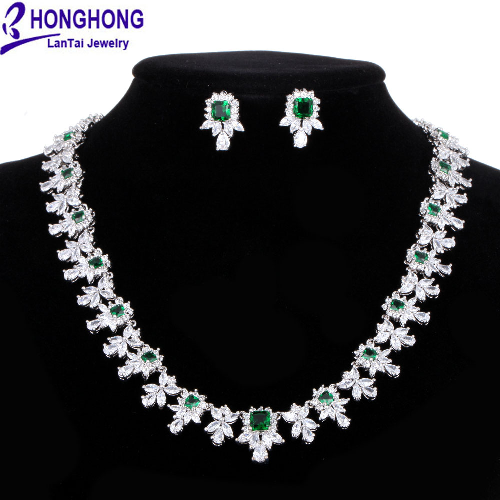 HONGHONG Small box Cubic zirconia necklace earrings Bridal Jewelry Sets European Style Vintage 3 color Bride jewelry sets #<font><b>T8013</b></font> image