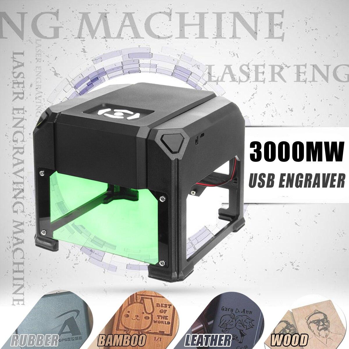 3000 mW USB Desktop Laser Engraver Machine 80x80mm Engraving Range DIY Logo Mark Printer Cutter CNC Laser Carving Machine