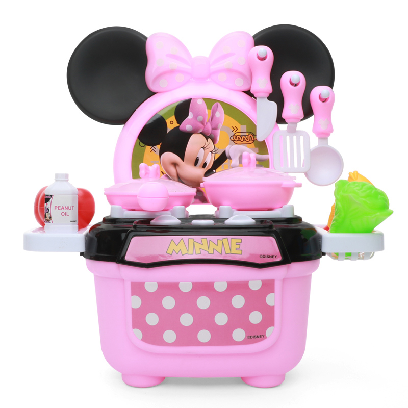 Disney Kitchen Set Toys Minnie Model Diy Kitchenware Girls Xmas Juguete Birthday Gifts Educational Pretend Play Toys For Kids