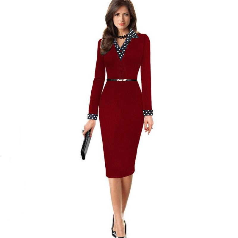 2/6 Sleeve Slim Tunic Work Party Dresses Women Elegant Lapel Patchwork Faux Twinset Wear To Work Office Sheath Bodycon Dress