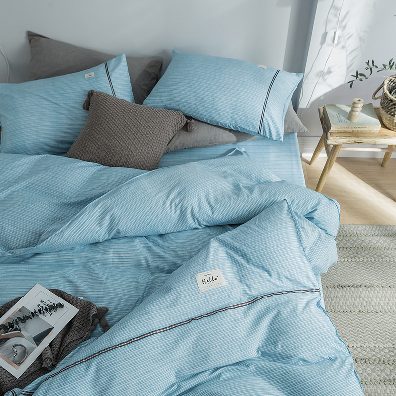 Brief Style Nordic Stripe Bedding Sets 3 4 pcs Washed Cotton Duvet Cover Pillowcase Flat Bed Sheet Single Double Twin Size - 2