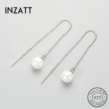 INZATT Tassel Real 925 Sterling Silver Pearl Dangle Drop Earrings Trendy Ear Line For Women Fshion Jewelry Accessories Lover