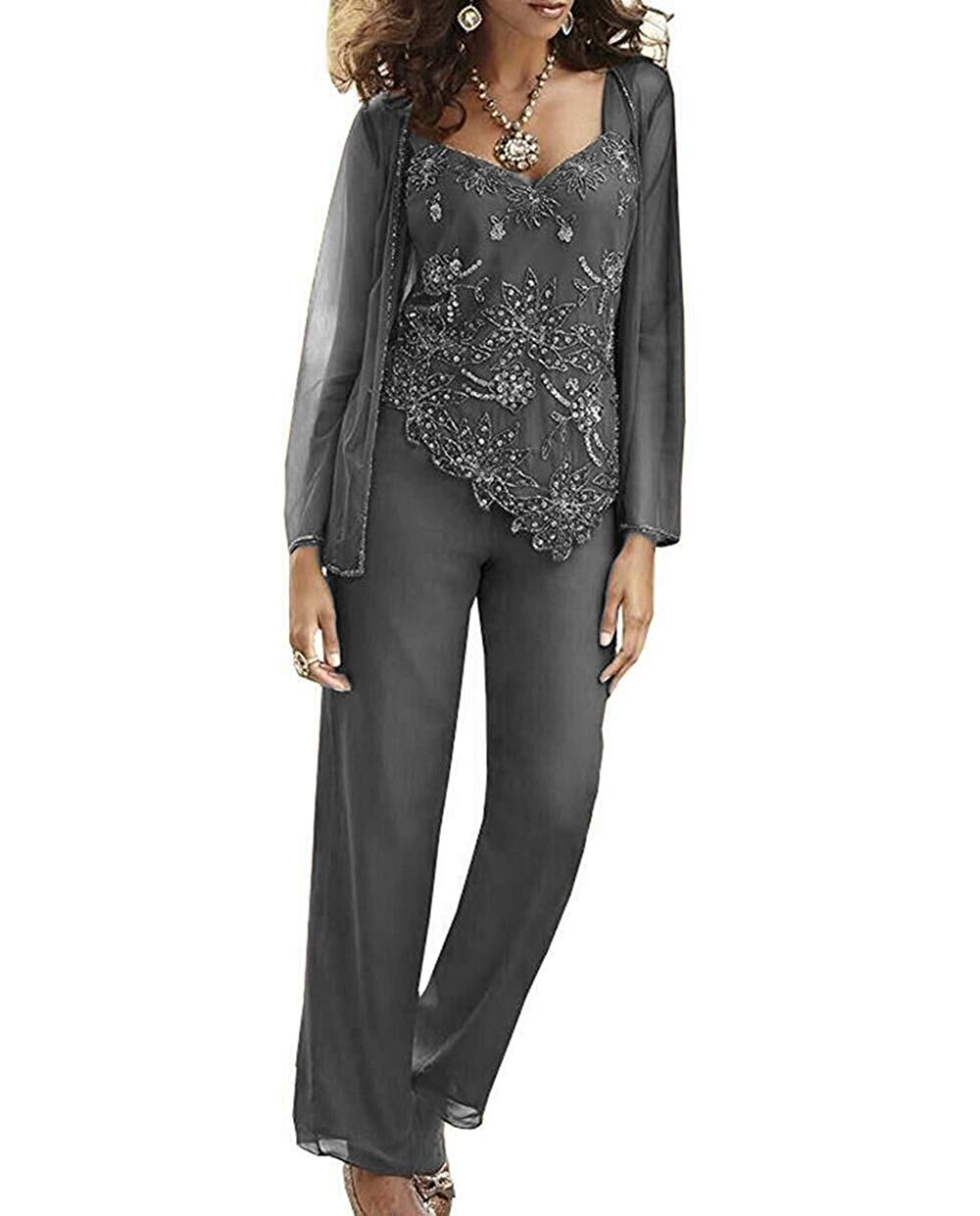 Womens 3 Pieces Elegant Sequins Chiffon Mother of Bride Dress Pant Suits with Jacket Outfit for Wedding