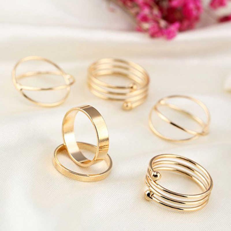 Kadın yüzük 6 adet yüzük seti çok satan sıcak avrupa ve amerikan tarzı bayanlar altın gümüş renk takı