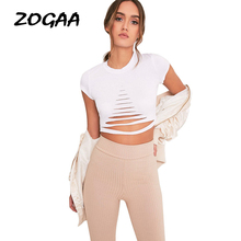 ZOGAA Sexy Ripped Out Holes Women T-shirts Silm Fit Midriff-baring O-neck Basic Short Sleeve Elegant Summer Female T-shirts Tops zogaa sexy ripped out holes women t shirts silm fit midriff baring o neck basic short sleeve elegant summer female t shirts tops