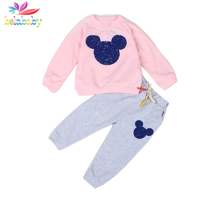 Belababy Boy Clothes Fashion Baby Girl Clothing Sets Kid Top + Pants Sport Suit for children Boys Kid Cartoon Mouse Clothes Set