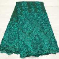 African Laces Fabrics Embroidered High Quality French Lace beads Fabric Elegant Nigerian Net tulle Lace Fabric JYN143