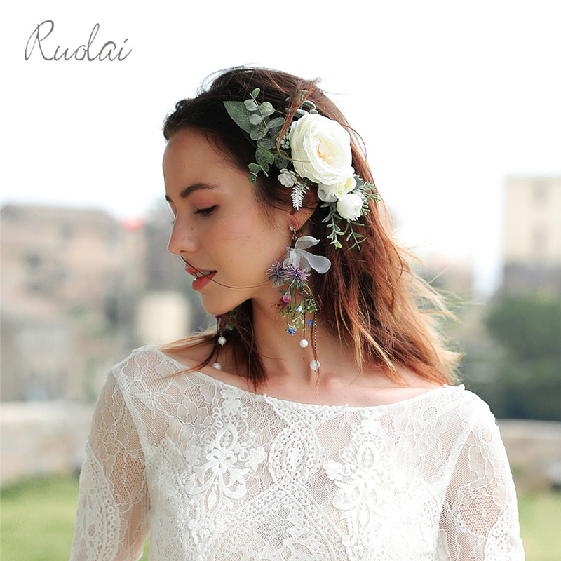 Boho Wedding Accessories Flower Headbands Girl Hair Comb Bridal Wear Headpieces Decoration HD6