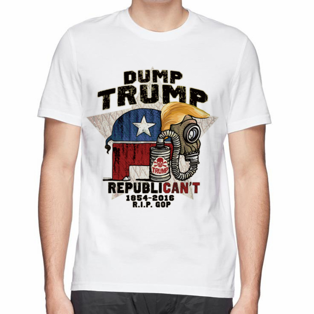 6ae19bb04 Dump Trump Republican't Elephant men T-shirt man Funny Cool Donald Trump  Political Cartoon printed 3d Tee
