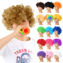 Perruque de fête drôle cheveux bouclés à gros cheveux Disco arc-en-ciel perruque de Clown Afro Fan de Football adulte enfant déguisement de fête Fans de Football perruque(China)