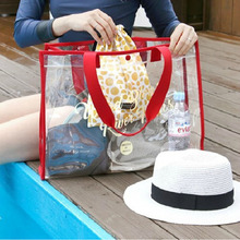 Clear PVC Handbag Beach Storage Bag Waterproof Transparent Bag Family Women Fashion Shoulder Bag