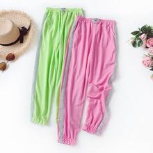 Wasteheart Summer Women Fashion Green Pink Long Pants Harem Pants High Waist Full Length Female Pants Holiday Beach Casual