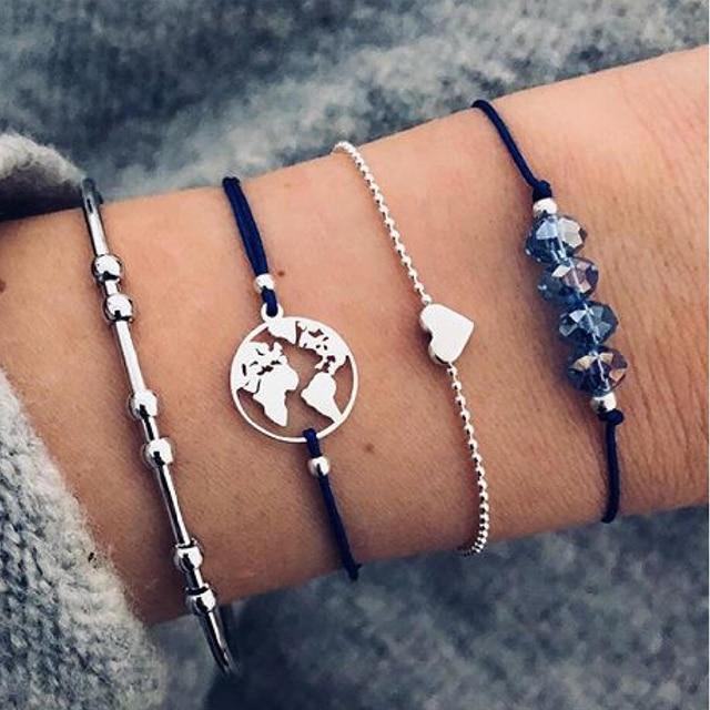 30 Style Boho Bangle Elephant Heart Shell Star Moon Bow Map Crystal Bead Bracelet 3