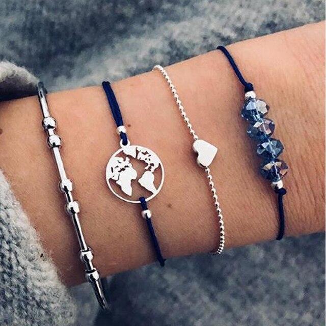 30 Style Boho Bangle Elephant Heart Shell Star Moon Bow Map Crystal Bead Bracelet Women Charm Party Wedding Jewelry Accessories