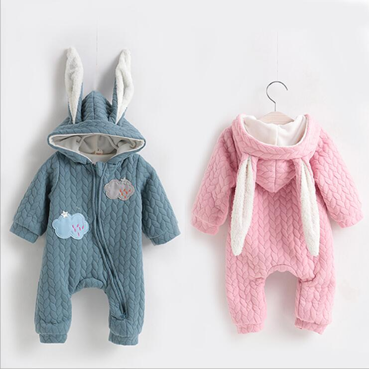 2017 New Brand Baby Rompers Thick Climbing Clothes Newborn Boys Girls Warm Romper Knitted Sweater Cute Rabbit Hooded Outwear 2017 baby rompers winter thick climbing clothes newborn boys girls warm romper knitted sweater christmas deer hooded outwear