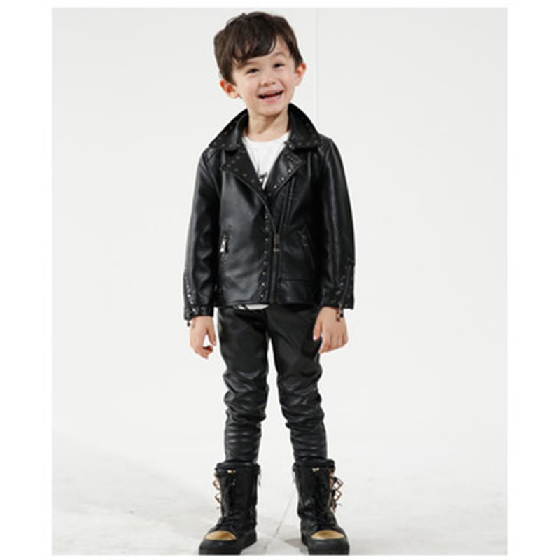 Fashion Children Rivet Turn-down Collar PU Leather Coats Spring Autumn Boys Jackets Black Girls Outerwear Red Kids Wholesale 2017 fashion teenager motorcycle coats boys leather jackets patchwork children outerwear letter printed boy faux leather jacket