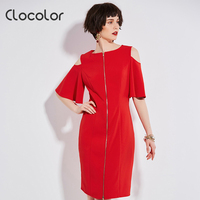 Clocolor Women Dress 2017 New Straight Brief Flare Sleeve Party Shopping O Neck Hollw Out Red