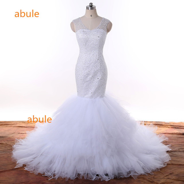 Abule Wedding Dress Long Train 2017 African White Beading Tiered V Neck Custom Made Bridal