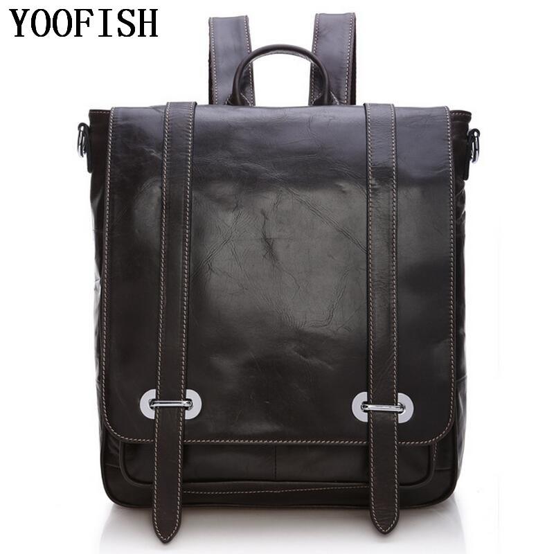 цена на YOOFISH Men's Genuine Leather Backpack Men School Backpack Bag Men's Travel Bags Leather Book bag Male backpacks LJ-911