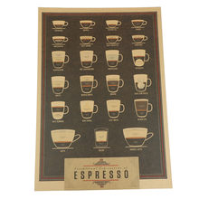 51.5*36 cm Kopi Espresso Italia Pencocokan Diagram Kertas Poster Gambar Cafe Kitchen Decor(China)