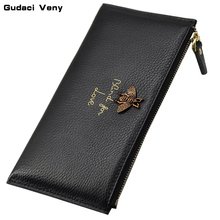 2019 new European and American leather wallet long clutch bag female zipper handbag purse