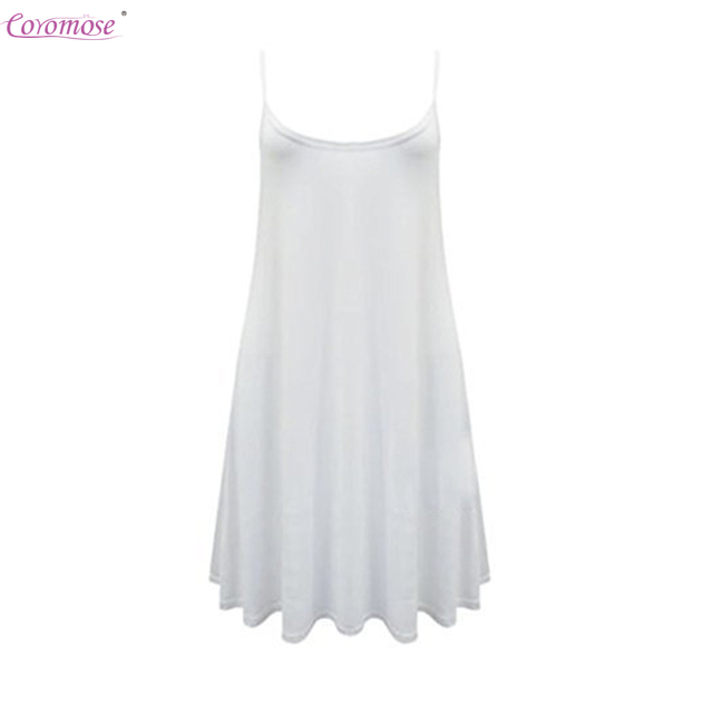 3faa049c20ff Forever Womens Plain Sleeveless Strappy Swing Dress White Large-in ...