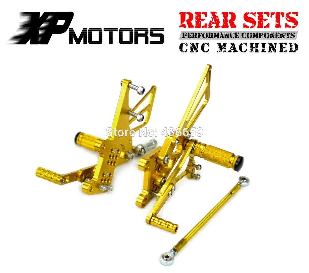ЧПУ заготовки регулируемые гоночные подножки педаль комплекты задний комплект для Триумф T509/T595/955i скорость тройной 2005-2010 золото