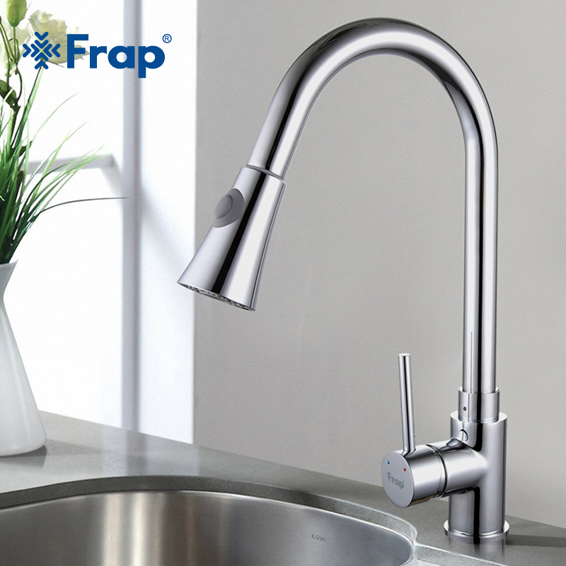 New Frap brass Pull Out chrome Kitchen sink Faucet cold and hot water Mixer Tap Swivel Spout single handle crane torneira F6052 donyummyjo modern new chrome kitchen faucet pull out single handle swivel spout vessel sink mixer tap hot and cold water