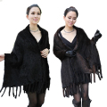 Women Wide Winter Real Mink Fur  Knit Scarf Wrap Women Warmer Fashion Shawl Cape Wedding Party