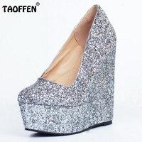 Frauen Plattform Keil Schuhe Frau Mode Flacher Mund Heels Pumps Damen Sexy Glitter Party Hochzeit Schuhe Mit Hohen Absätzen 34-47