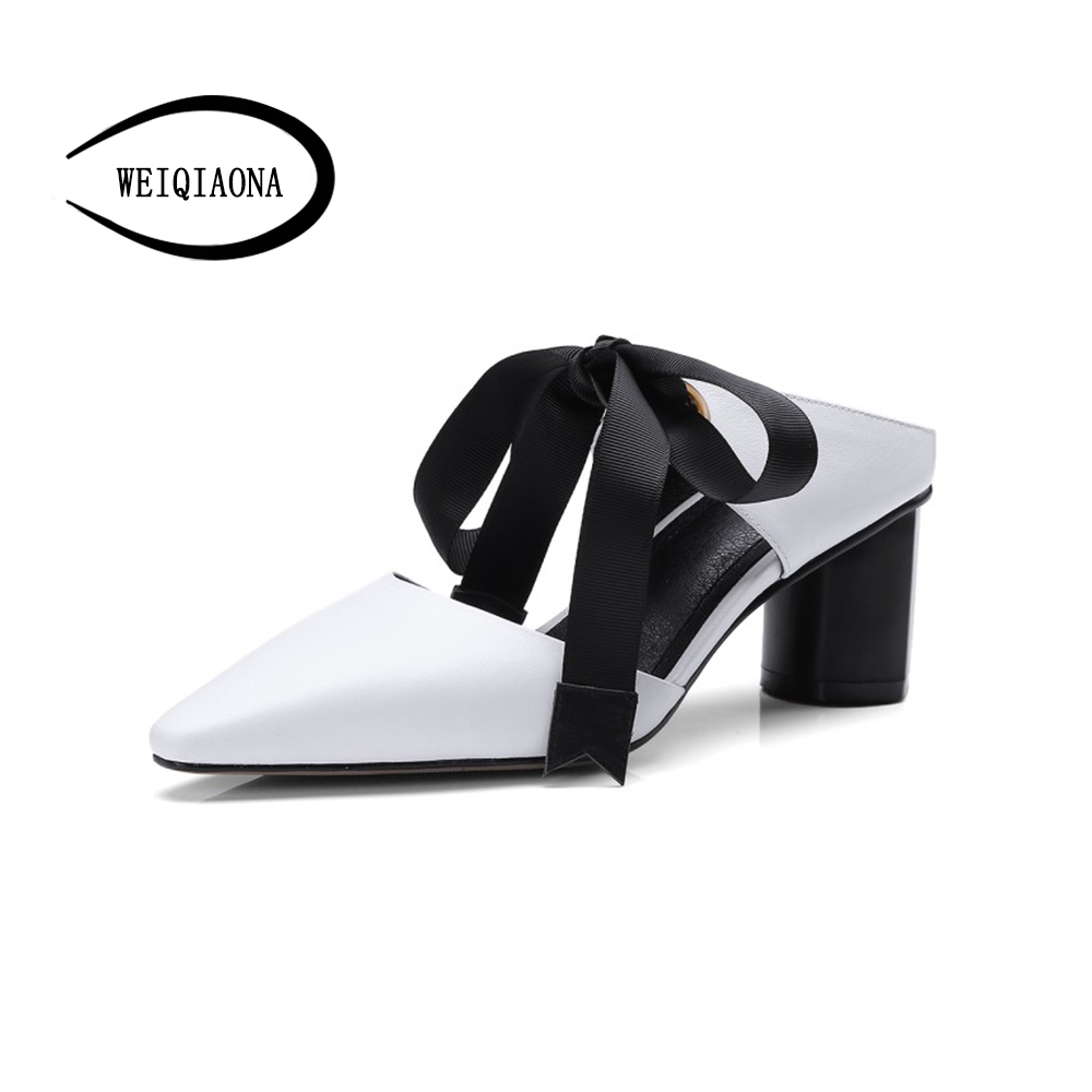 WEIQIAONA New spring summer fashion sexy bow pointed toe hollow mid heels sandals shoes woman ladies party pumps dress shoes new 2017 summer flat sandals sexy pointed toe designer side buckle sandals woman shoes tide brand woman sandals hollow flats