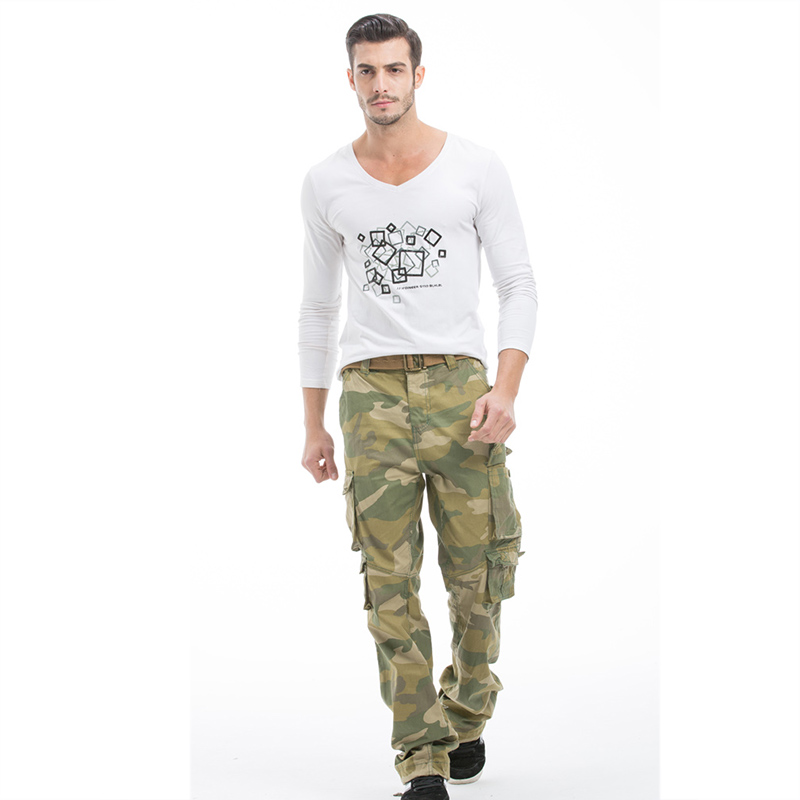 Autumn new All cottonTop brand fashion mens cargo pants zipper overalls The loose Multiple pockets Camouflage size 30-40