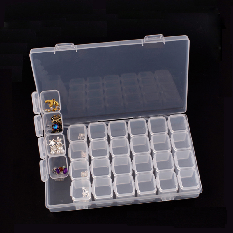 Mordoa 28 Slots Clear Plastic Beads Holder Storage Box For Nail Art Manicure Tools Jewelry Display Case Organizer Box