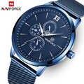 Męskie zegarki Top Luxury Brand NAVIFORCE Fashion wodoodporny Ultra cienki zegar męski pełny stalowy zegarek kwarcowy męski zegarek biznesowy