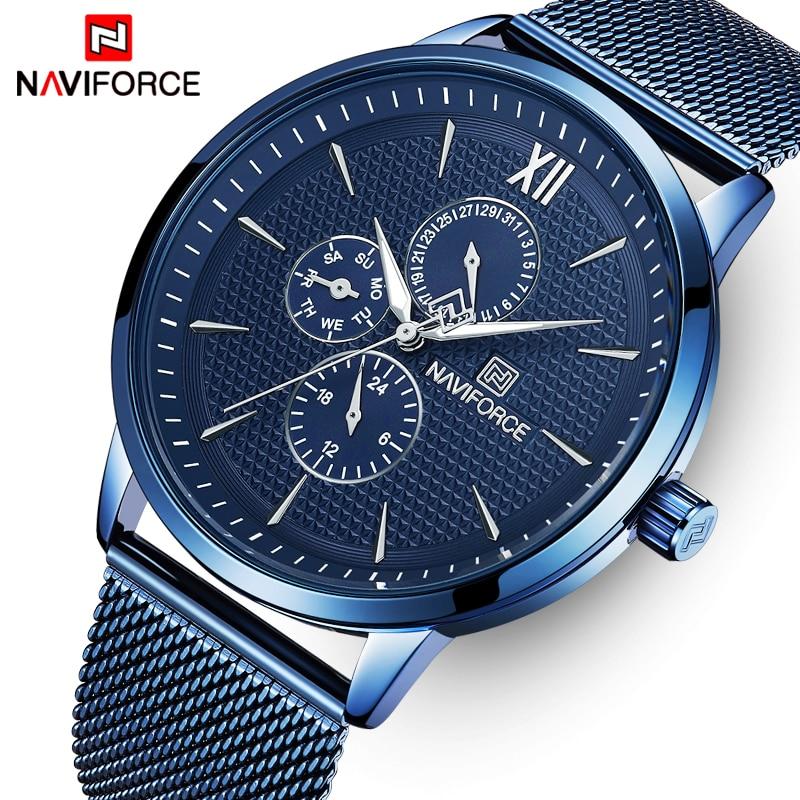 Mens Watches Top Luxury Brand NAVIFORCE Fashion Waterproof Ultra Thin Clock Male Full Steel Quartz Watch Men Business Wristwatch