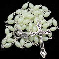 Catholic rosary necklace, oval luminous rosary beads, rosary beads necklace