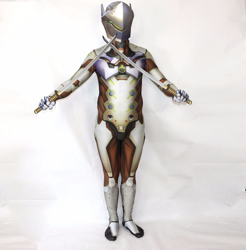 FOGIMOYA Game Genji Costume Spandex 3D Print Genji Zentai Superhero Costume Men Halloween Party Cosplay Costume Bodysuit