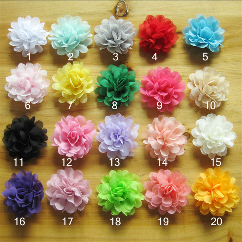 Hot Sale 40pcs lot 20colors 7 5cm satin chiffon flowers for Girls headbands hairband hair ornaments hair accessory in Hair Accessories from Mother Kids