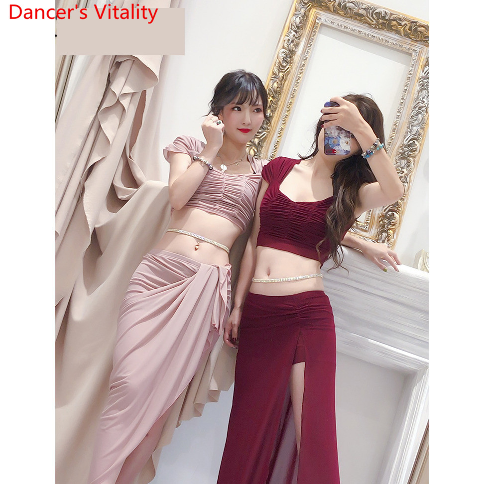 Image 3 - Belly Dance 2019 Training Clothes New Top Skirt Set Sexy Yarn Long Skirt Oriental Beginner Dancer Wear Outfits Summer SuitBelly Dancing   -