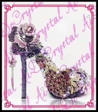 Aidocrystal Edle elegante temperament königin van lila kristall hochhackigen schuhe mit diamanten und große blumen