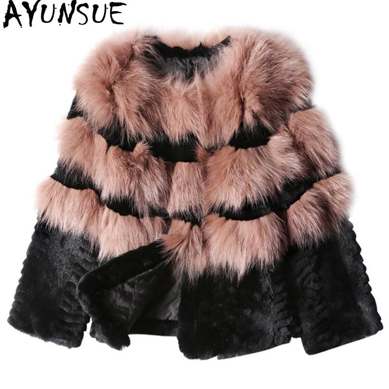AYUNSUE Real Fox Fur Coat Natural Fur 2018 Fashion Patchwork Genuine Rabbit Fur Coats Winter Jacket Women Short Overcoat WYQ1006