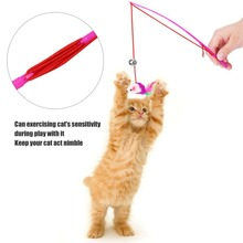 1 pc Pet Cat Bell The Dangle Faux Mouse Roped Rod Funny Fun Playing Play Toy cat auditory sensitivity training tools