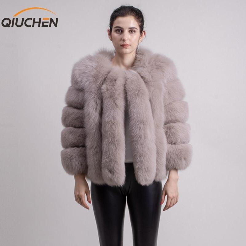 QIUCHEN PJ1819 2018 nouvelle arrivée LIVRAISON GRATUITE femmes hiver réel de fourrure de renard manteau court grand de fourrure à manches longues de mode filles veste