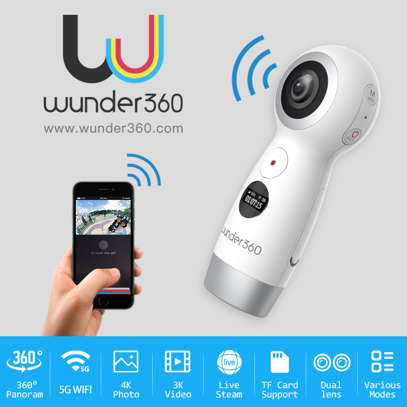 Wunder360 360 Degrés Panoramique VR 360 Caméra Double Lentille Panoramique Caméra 4 k HD Wifi Mini 4 K HD kamera Live Streaming Micro USB
