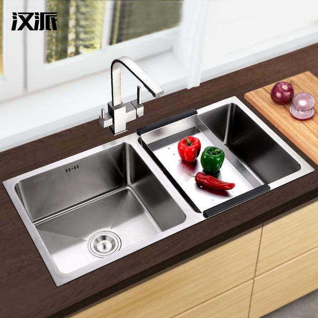 US $380.91 |304 in acciaio inox da cucina lavello a due groove xiancai  bacini lavandino vasca di lavaggio piatto piscina serbatoio di ispessimento  a ...