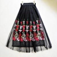 skirts Spring and summer new flowers embroidery net yarn half skirt fairy long paragraph sweet high waist PenG