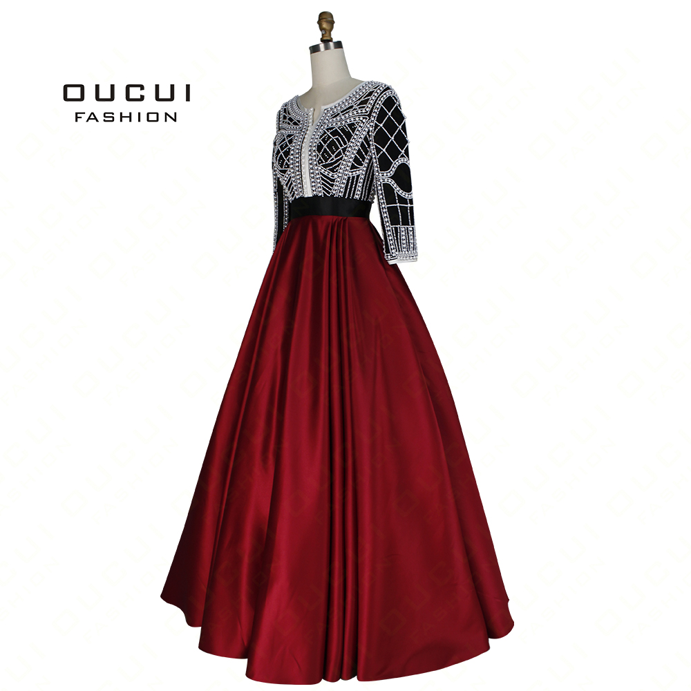 Pearl Decoration Arabic Ball Gown Muslim Prom Dress 2019 Long Evening Party Burgundy Handmade Three Quarter