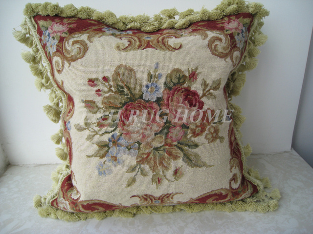 "Free Shipping French countryside style 15K 16""X16"" Needlepoint pillow with floral designs no insertion"
