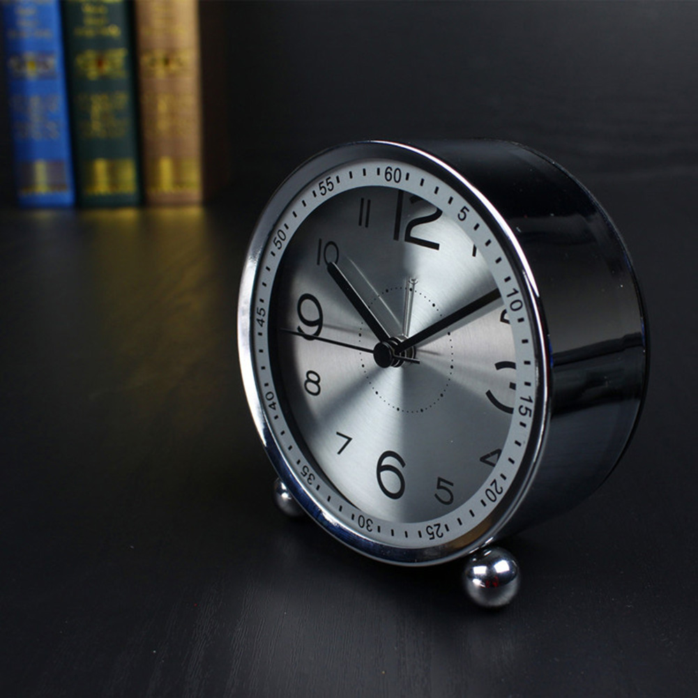 Mini Metal Alarm Clock Desktop Quartz Table Desk Side 4inch Silver Blue Clocks