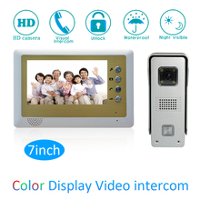 (1 set) Video Door Phone Talkback 7 inch Screen Door Access Intercom 1 To 1 Door Bell Intercom Night Version Free Shipping